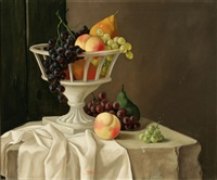 still life with compote of fruit on a marble ledge by jean rassignol