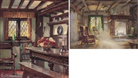 cottage interior (2 works, incl. 1 watercolor) by george ayling