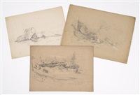 kketches of new hampshire river scenes (3 works) by benjamin champney