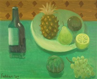 still life with pineapple, fruit and bottle by mary fedden