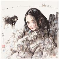 藏族女孩琼白 框 设色纸本 by ai xuan