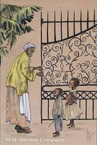 charleston flower vendor (+ woman with children by cast iron gate; 2 works) by alice scott
