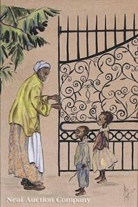 charleston flower vendor (+ woman with children by cast iron gate; 2 works) by alice scott