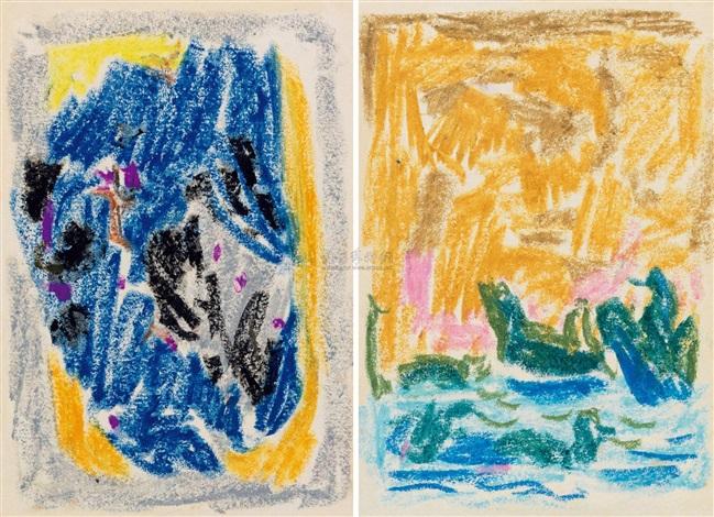 无题 (两幅) 油性蜡笔 untitled 2 works by wu dayu