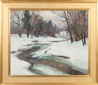 stream in winter by emile albert gruppe