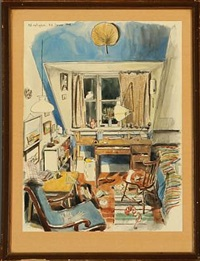 five drawings; interiors and sceneries from paris and orleans. /1952 by niels andersen