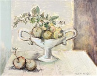 still life with apples in an urn by christo coetzee