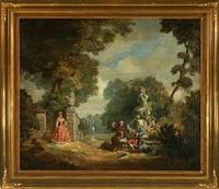 scenery from a park with woman looking at a monk and gentleman by carl forup