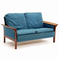 A free-standing two-seated sofa with rosewood.