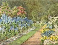 a border of delphiniums by violet thorpe lindsell