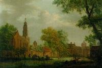 holländische kirche und kloster an einem kanal by pieter jan van liender