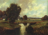 summer landscape with farmstead by josef krotter