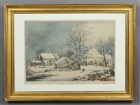 winter in the country: a cold morning by currier & ives (publishers)