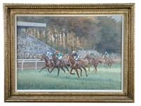 on the flat on newmarket's july course - the front three (left to right) appear to be in the racing colours of sir michael sobell, possibly the aga khan (red cap is causing uncertainty) and charles st. george by neil cawthorne