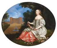 dame in parklandschaft by pierre mignard the elder