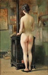 blick in ein maleratelier mit stehendem weiblichen rückenakt by paul laureaux