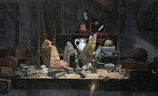 das brennende haus stillleben mit steinen und schubladen auf werkbank by wolfgang widmoser