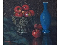 still life with red apples by gregoire johannes boonzaier