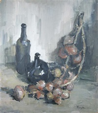 still life of wine bottles and a string of onions by lucette de la fougere