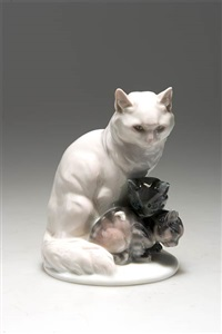 katze mit zwei jungen by ottmar obermaier