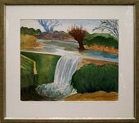 waterfall near city of warwick, warwickshire by john melville
