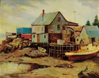 harbor view, port clyde, maine by junius allen