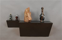 untitled (bottles, horse heads) by haim steinbach