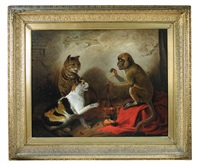 a tabby cat and a tortoiseshell cat with a monkey with scales disputing food by edmund bristow