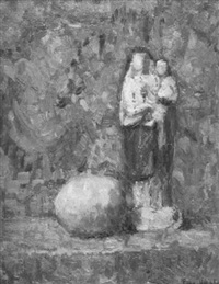 still life with lemon and figurine by eugene lawrence vail