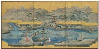 eine flußlandschaft (+ landschaft im herbst; pair) by japanese school (19)
