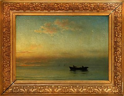 fishermen in a rowing boat on calm water by anton laurids johannes dorph
