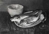 fischstilleben mit schale und leerem glas by henri frédéric boot