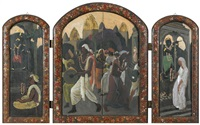 hinduistisches fest in srinagar (triptychon) by marcel amiguet