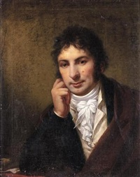 portrait of a gentleman resting his head on his hand wearing a red cloak, a blue jacket and a white waistcoat and cravat by pietro benvenuti