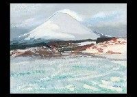 mt. fuji with snow in the village by hitoshi yamaba
