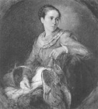 junge dame in blauem kleid und sommerhut mit rotem band by minna elizabeth roberth