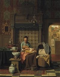 mutter mit ihrem kleinkind in der stube. rechts durch die offene tür blick in ein städtchen by charles joseph grips
