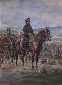 napoleon zu pferde im schlachtengetümmel by f. oesinger