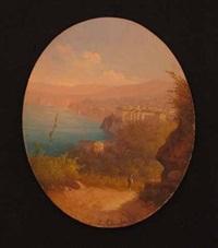 italian port scene with figure by e. altrui