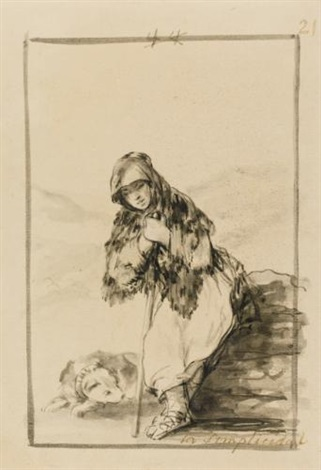 shepherdess with her dog and study of two figures recto verso by francisco de goya