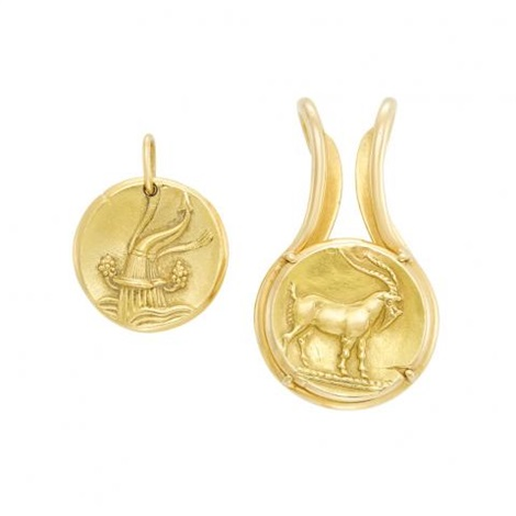 Gold zodiac pendant and money clip van cleef arpels france by van gold zodiac pendant and money clip van cleef arpels france by van cleef aloadofball Image collections