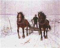 das pferdegespann im schnee by richard (huber-dachau) huber