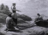 italienische fischer und ein mädchen am strand by adolf henning