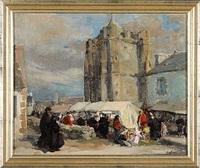 markttag in tréguier by emile joseph jules simon