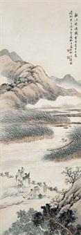 秋江晚渡图 by lin xueyan