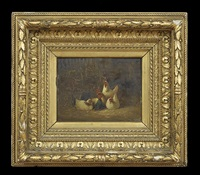 roosters; barnyard with rooster and dog (pair) by j. dubois