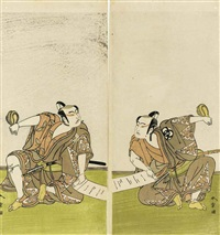 the actors ichikawa yaozo ii and bando mitsugoro i holding either end of an unrolled scroll (2 works) by katsukawa shunsho