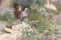 watering the garden, mid-summer by thomas mackay