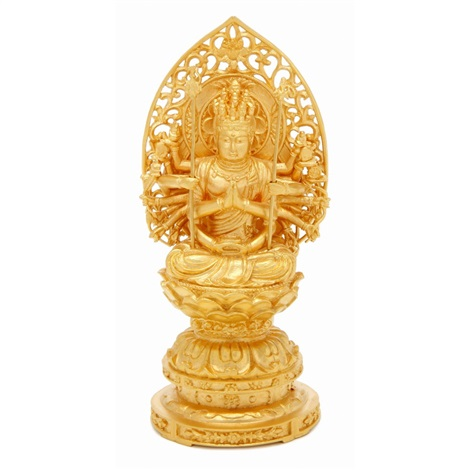 pure gold figure of thousand armed avalokiteshwara
