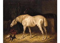 zwei pferde im stall by gustav colsoulle